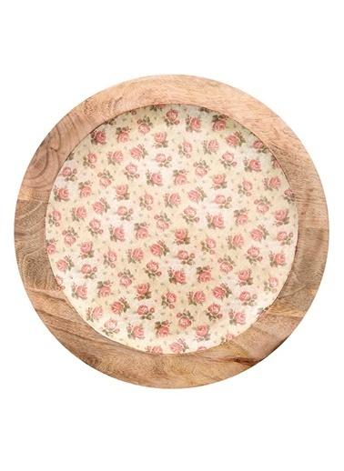 Vitale Çiçek Desenli Dekoratif Tabak Krem